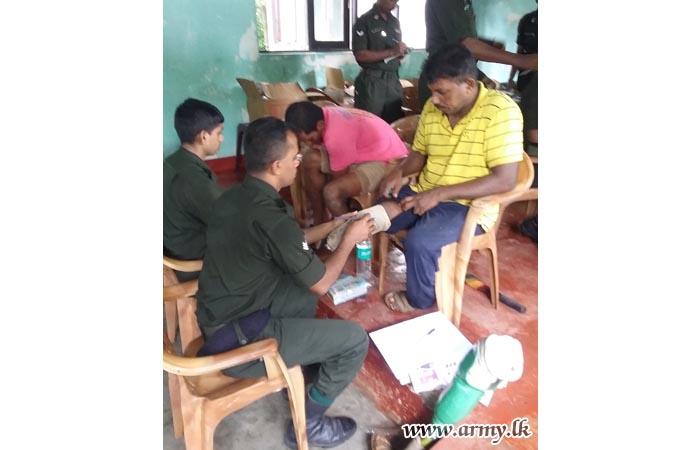 Clearing of Debris Continues: Medical Camp Held at Ranaviru Village