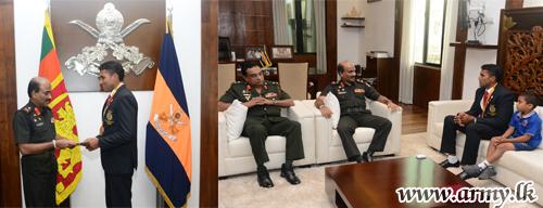 Commander Felicitates & Lavishly Gifts Bronze Medalist with Promotion
