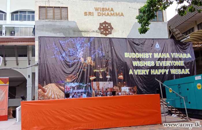 Army-Put up Vesak Pandol in Malaysia Glitters Making History