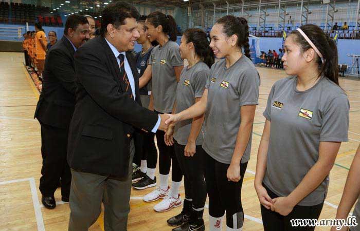army woman netballers  u0026 brunei national team play in