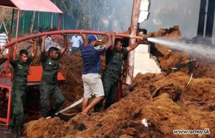 8 GW Troops Help Douse Coir Factory Fire