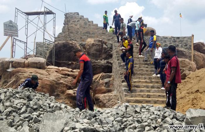 Troops Assist Temple Construction