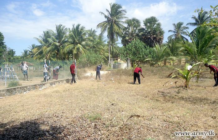 65 Division Assists Cleaning of Tamil Mixed School at Skanadapuram