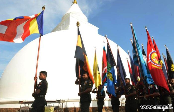 Kirivehera & Kataragama Devala Premises Coloured with Army Flags During Anniversary Offerings
