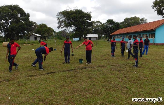 Troops Prepare Suthanthipuram School Playground Ahead of  Annual Sports  Meet
